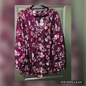 Purple Floral Relaxed Lace Challis Tunic Blouse